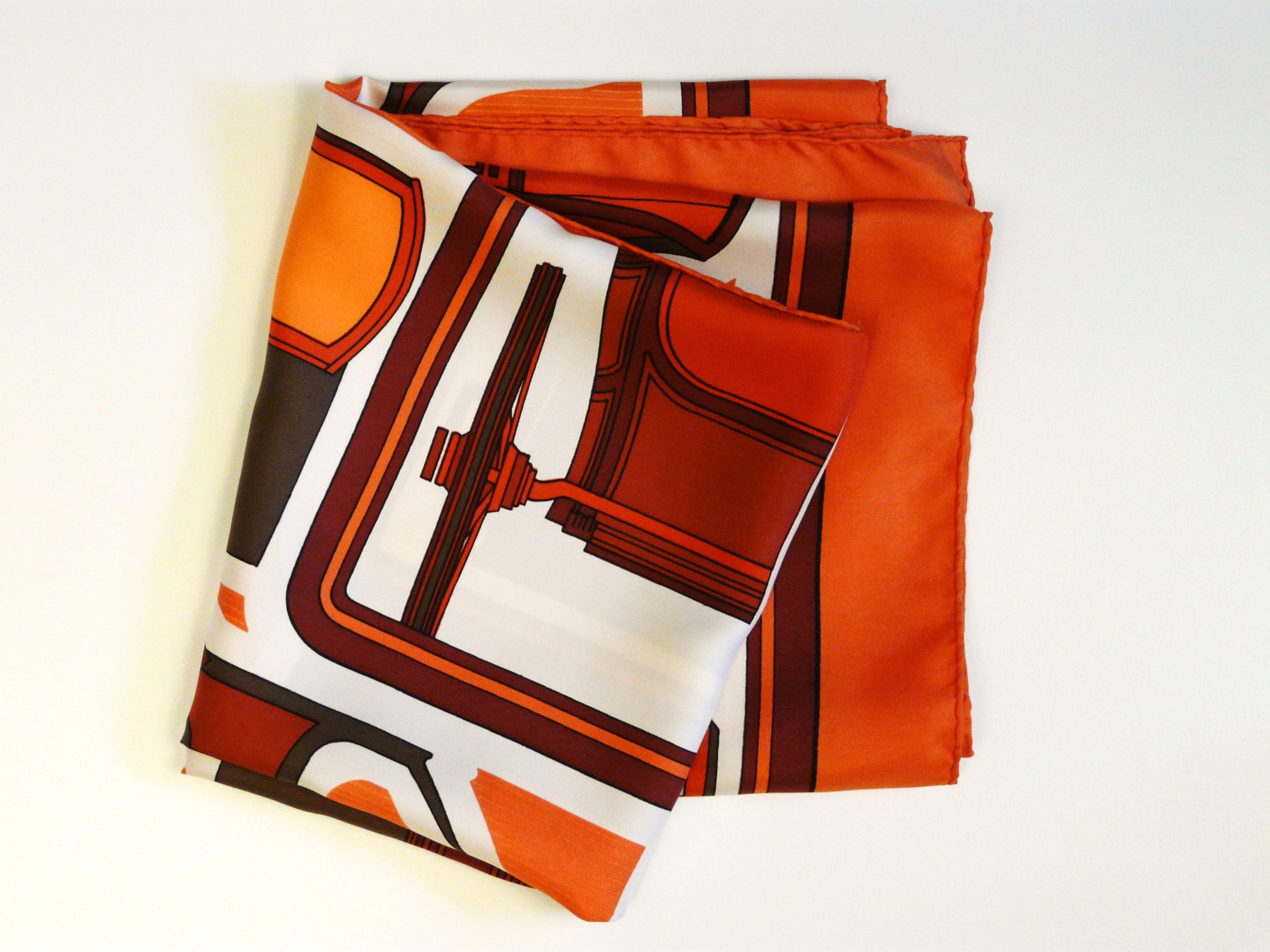 Hermes Silk Scarf Les Coupes in Hermes Orange and Brown, Françoise de la Perrière, 1971