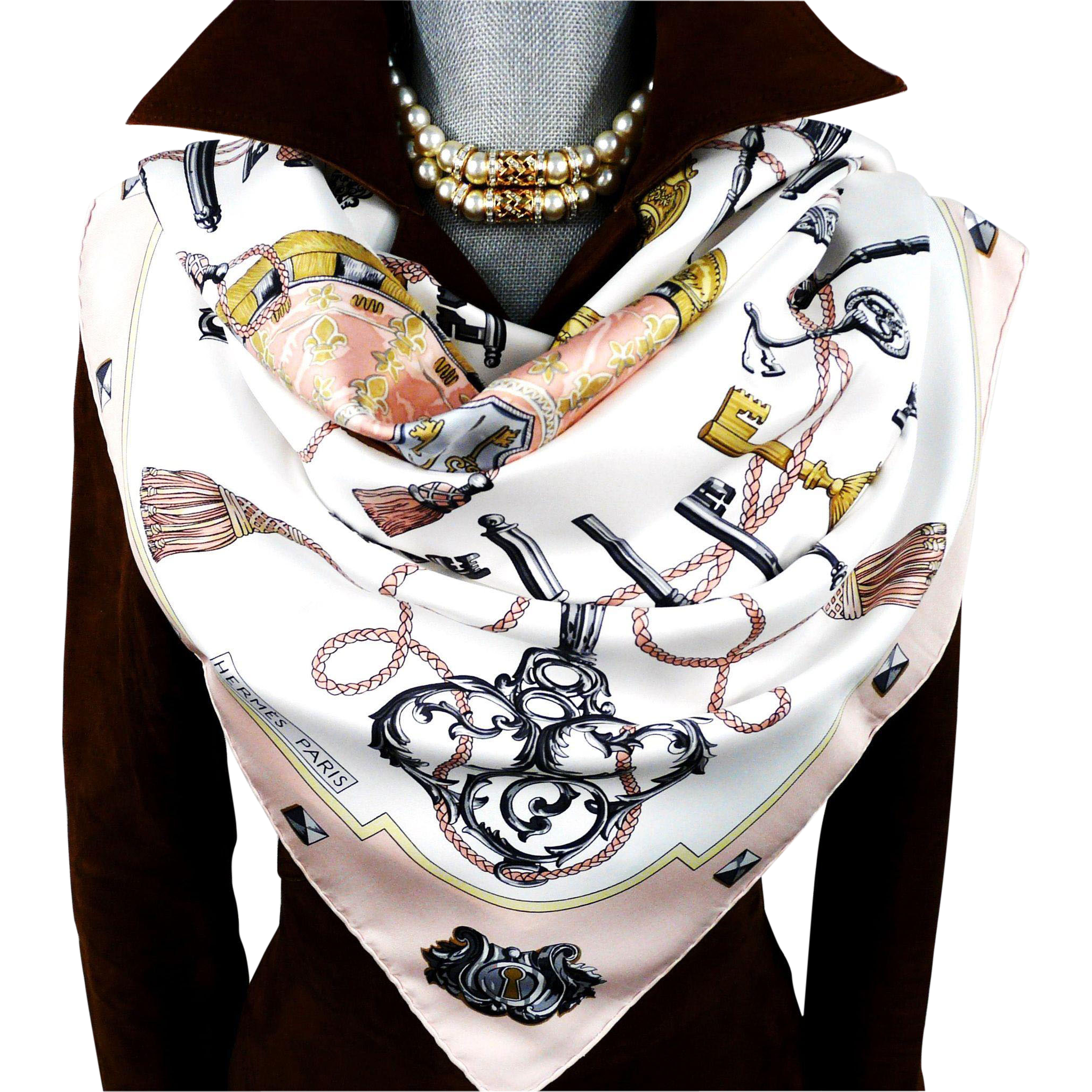 """Les Cles Hermes 36"""" x 36"""" silk scarf - original design by Caty Latham was first issued in 1965"""