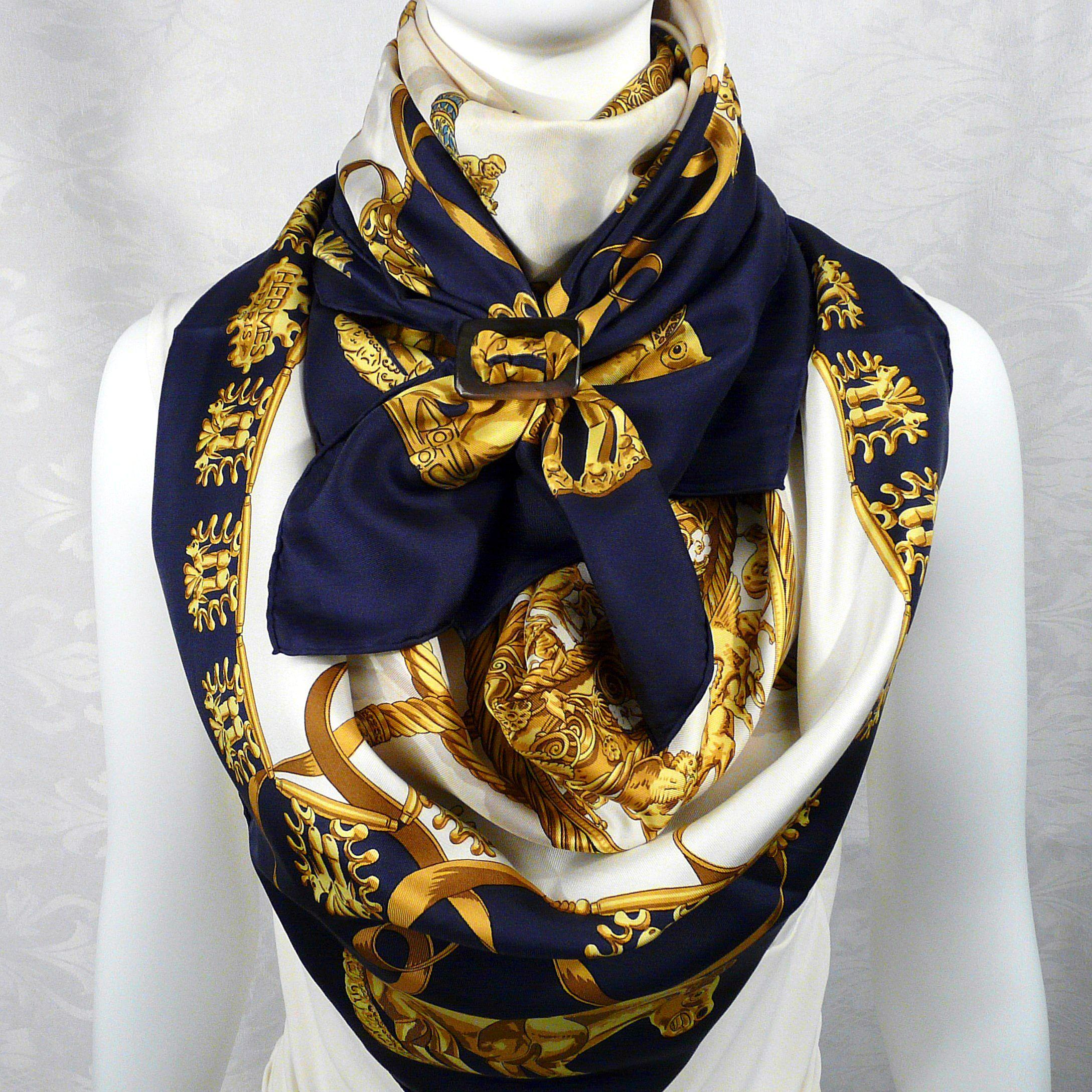 2 cavaliers d or hermes scarves with anneau ceinture horn