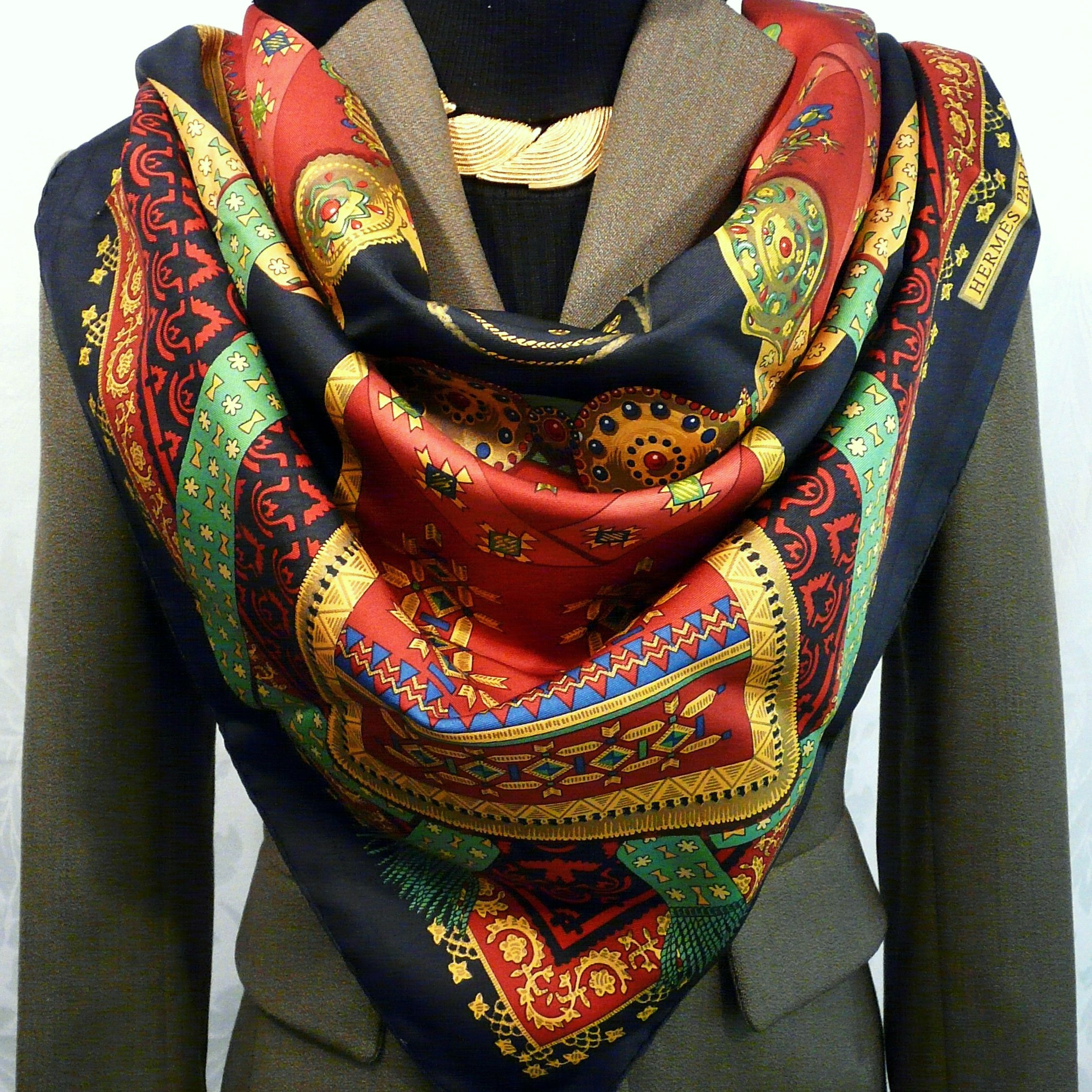 Brins d'Or HERMES 36 inch Vintage Silk Scarf Julia Abadie 1982