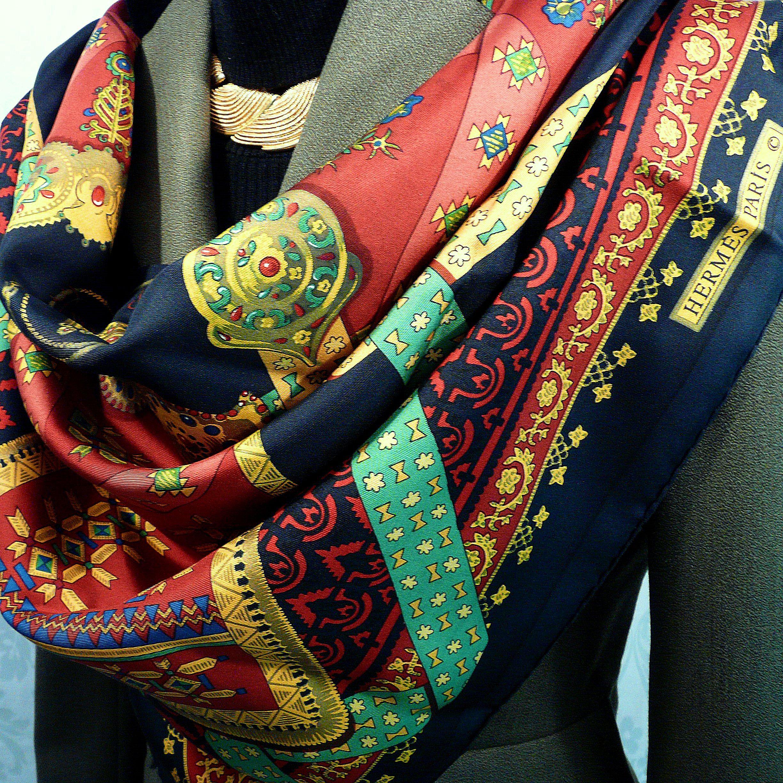 Brins d'Or HERMES Vintage Silk Scarf Julia Abadie 1982