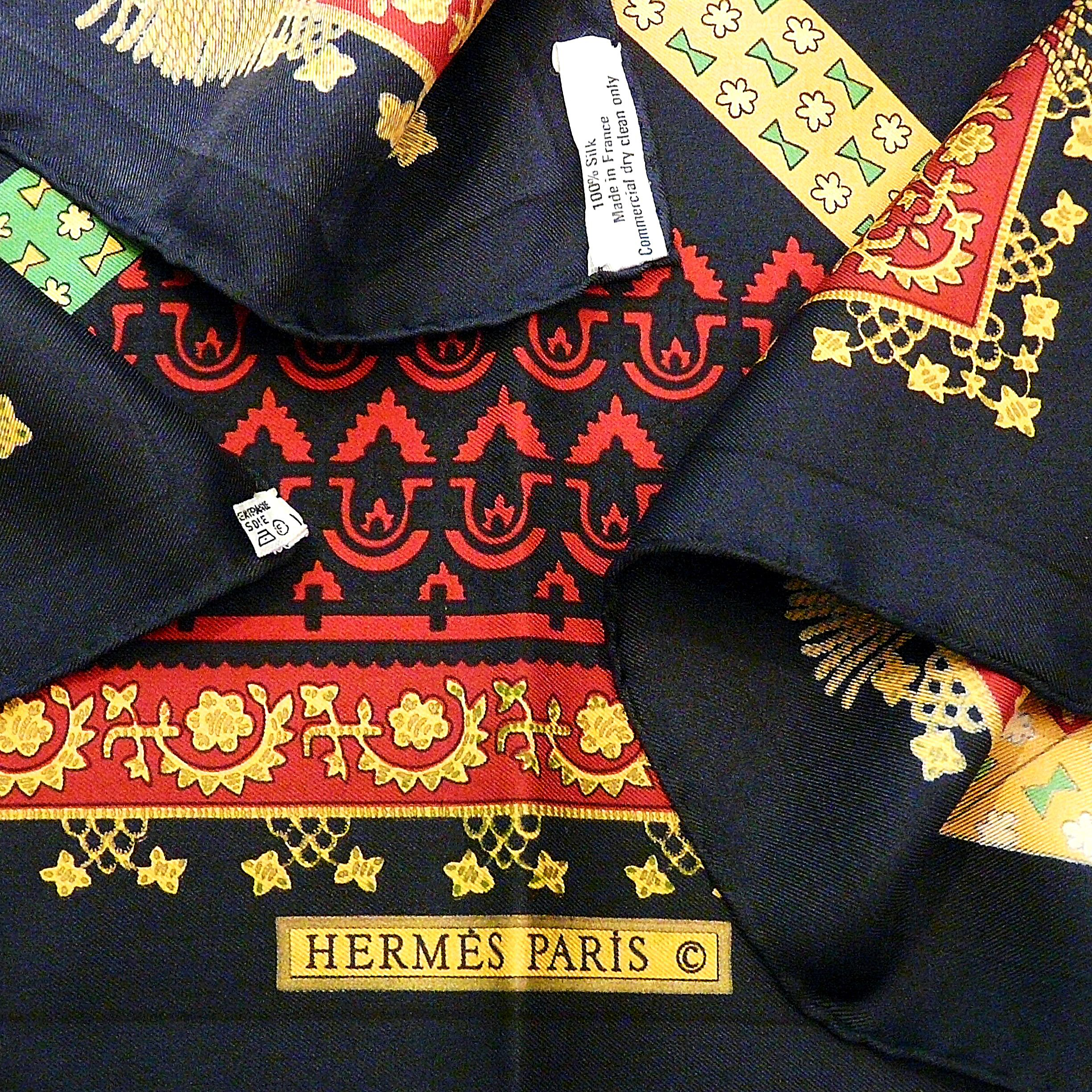 Brins d'Or HERMES Vtg Silk Scarf 2 Care Tags Copyright and Artist Signature