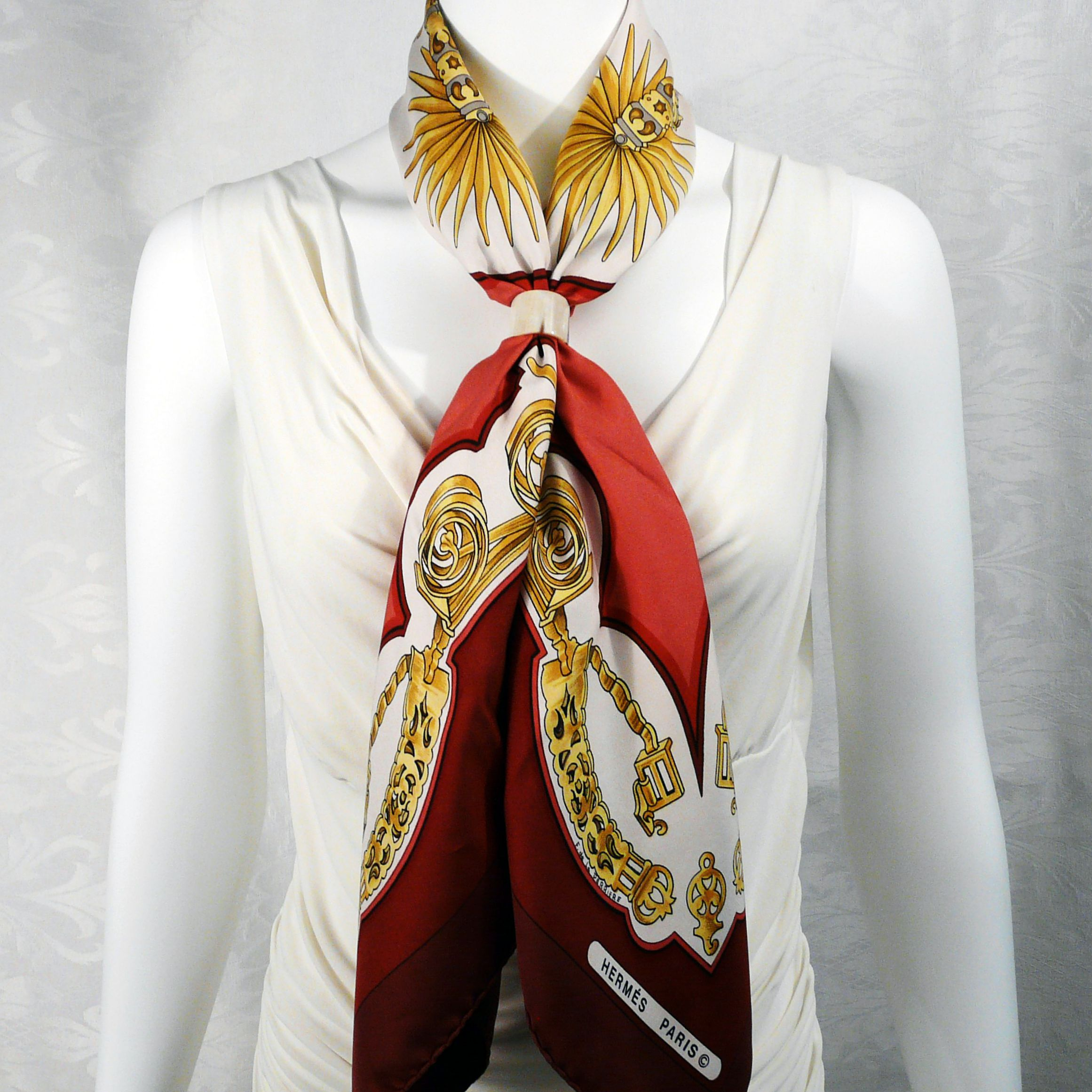 Eperon d'Or HERMES with Horn Anneau Pur Horn Scarf Ring Carre de Paris