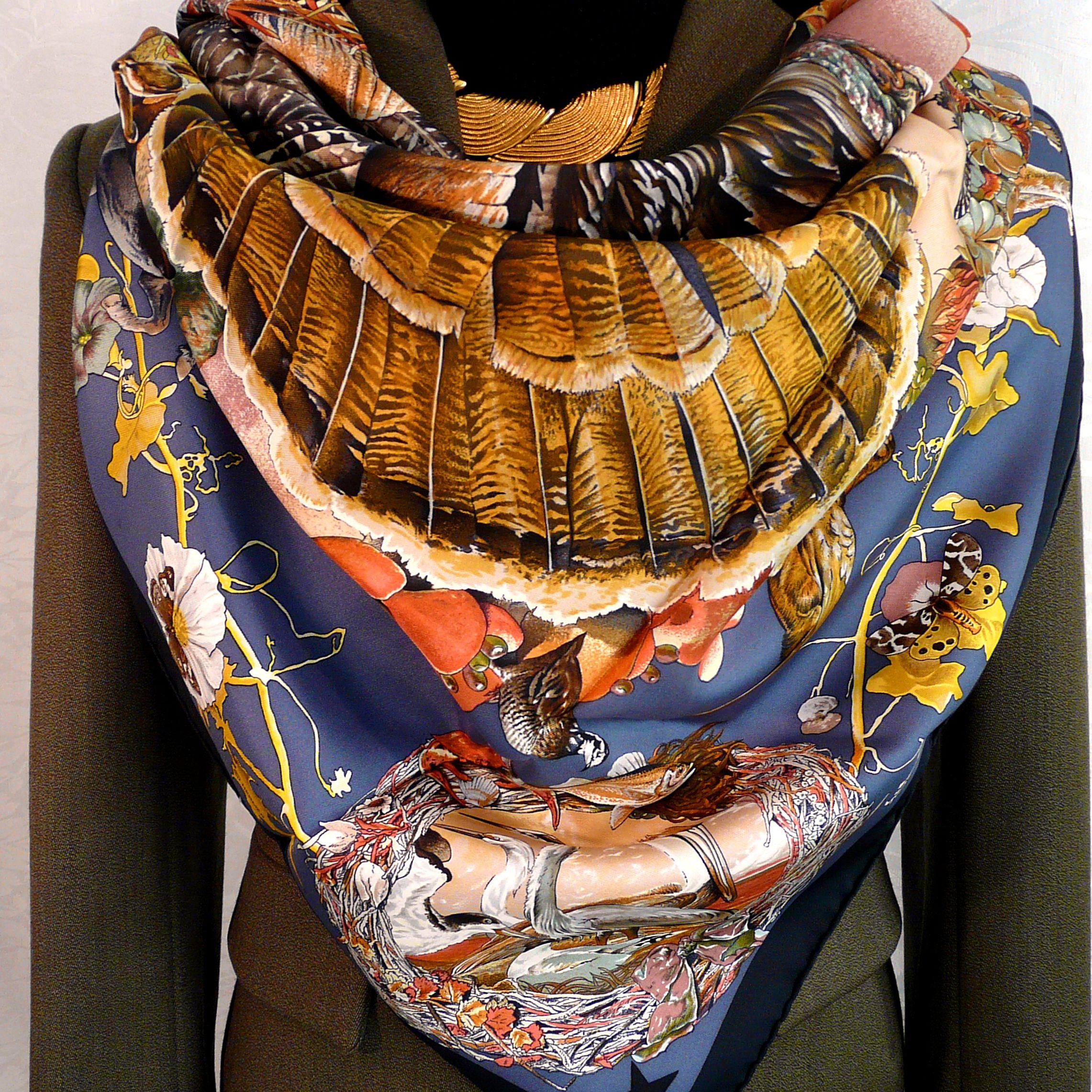 Faune et Flore Du Texas - Texas Wildlife HERMES Silk Scarf