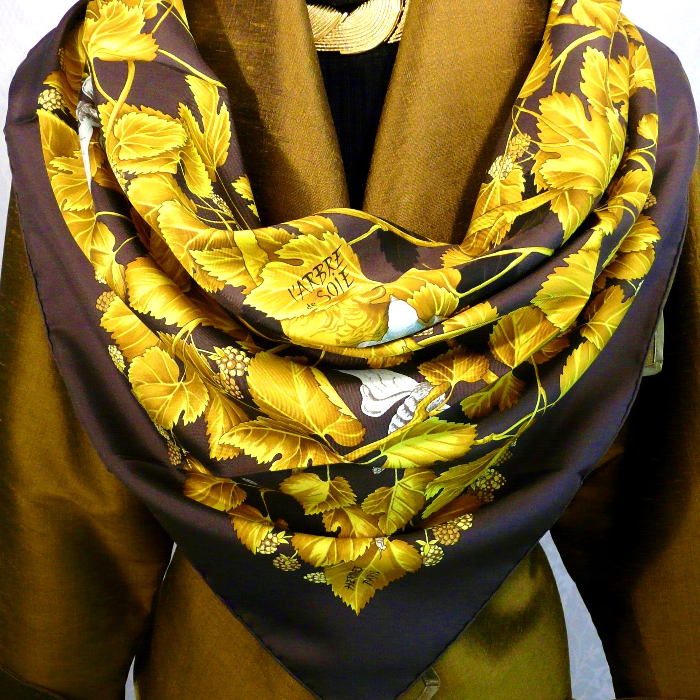 L'Arbre de Soie HERMES Brown and Gold with Gold Silk Jacket