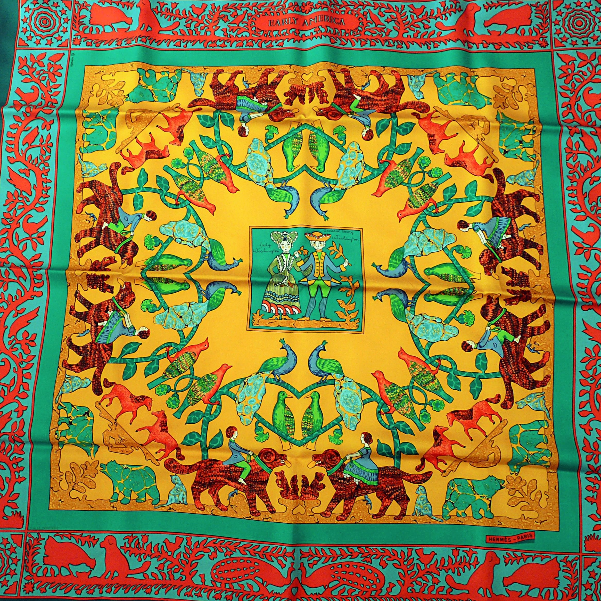 Early America HERMES 90 cm Silk Scarf