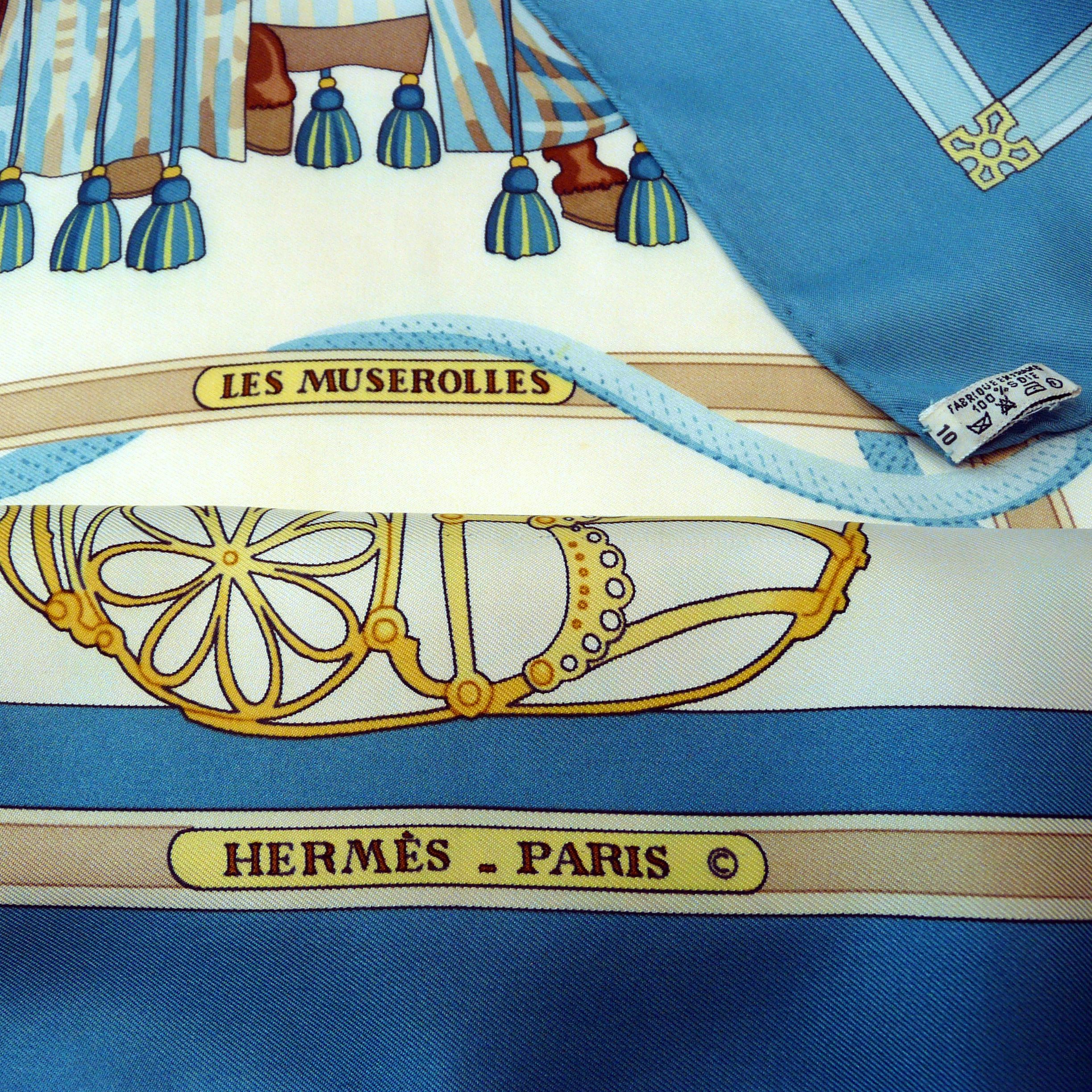 Les Muserolles HERMES Scarf copyright care tag