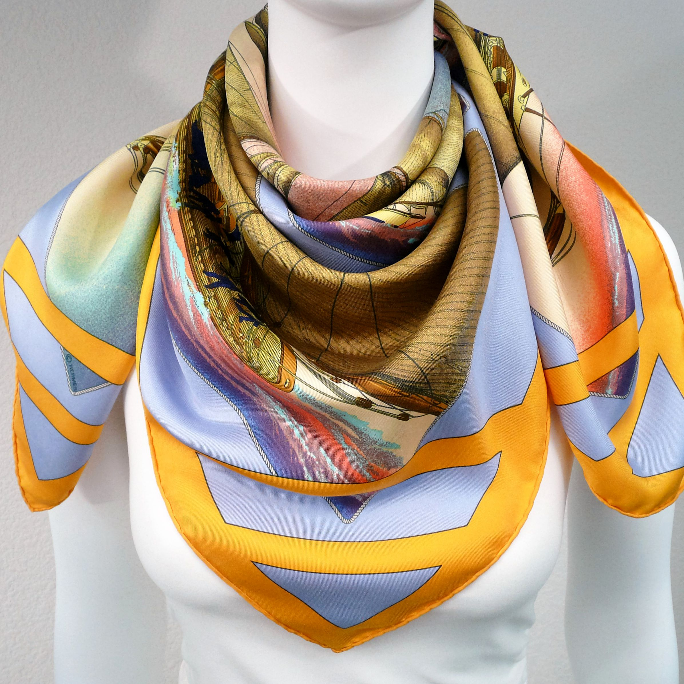 Rafales HERMES Paris Scarf with Sail Boats