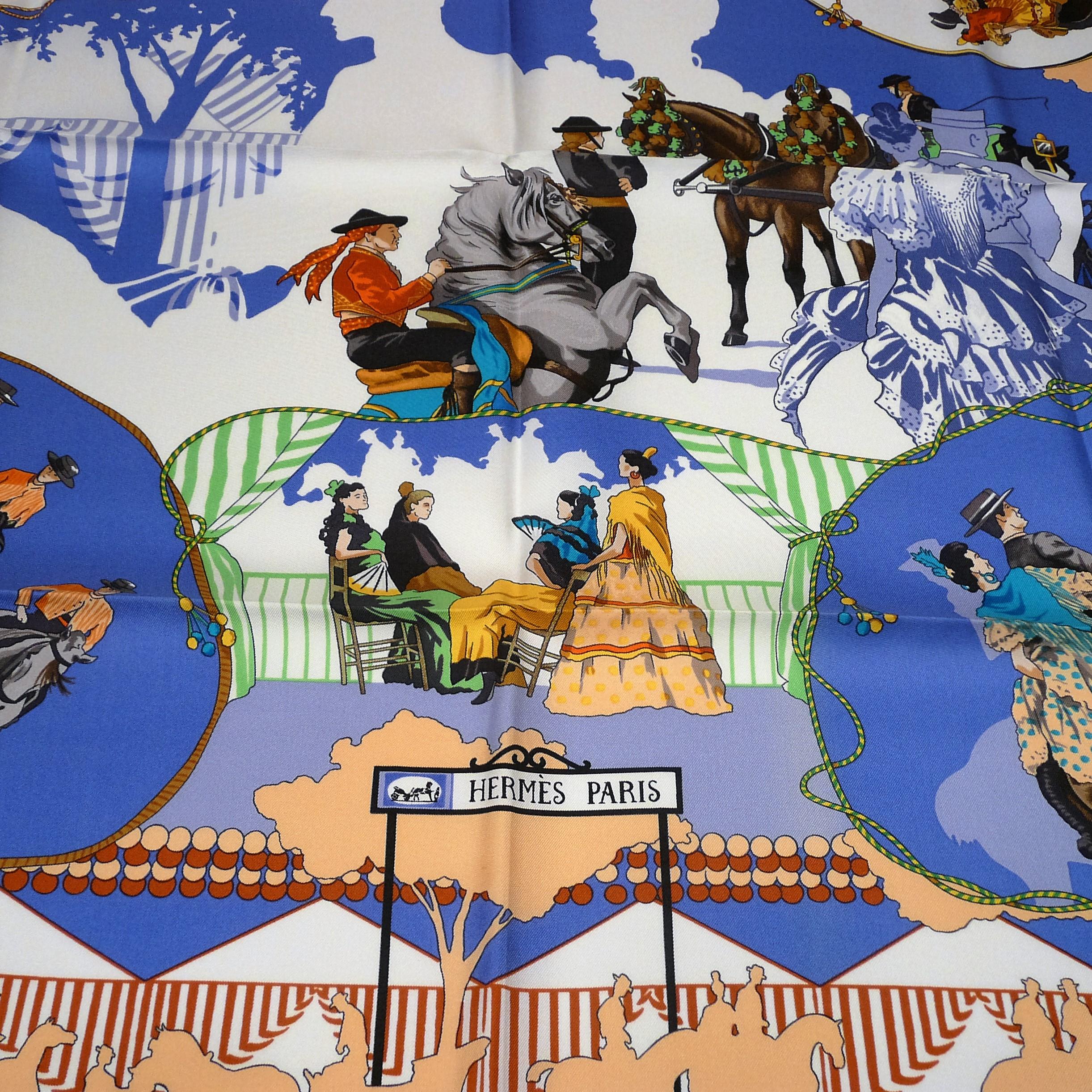 Feria de Sevilla HERMES Paris 36 inch Silk Scarf