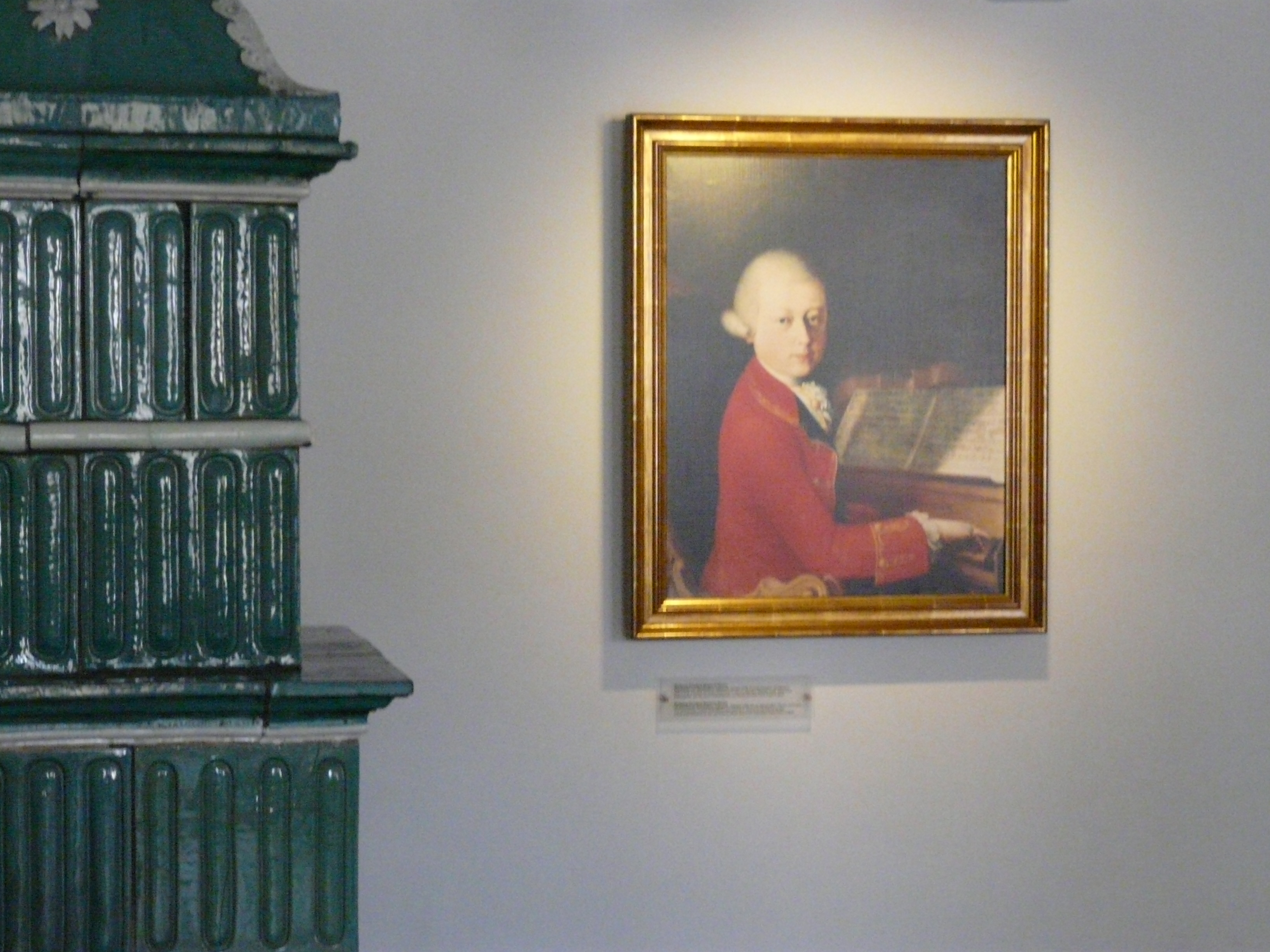One of the rooms in the house with a portrait of young Mozart