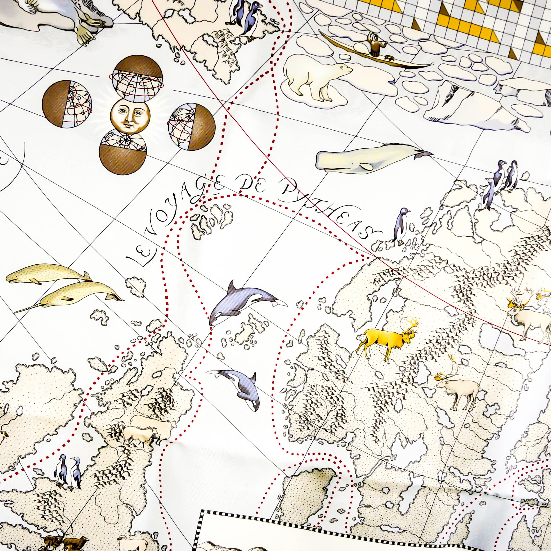 Le Voyage de Pythéas HERMES Silk Scarf by Aline Honore - Detail