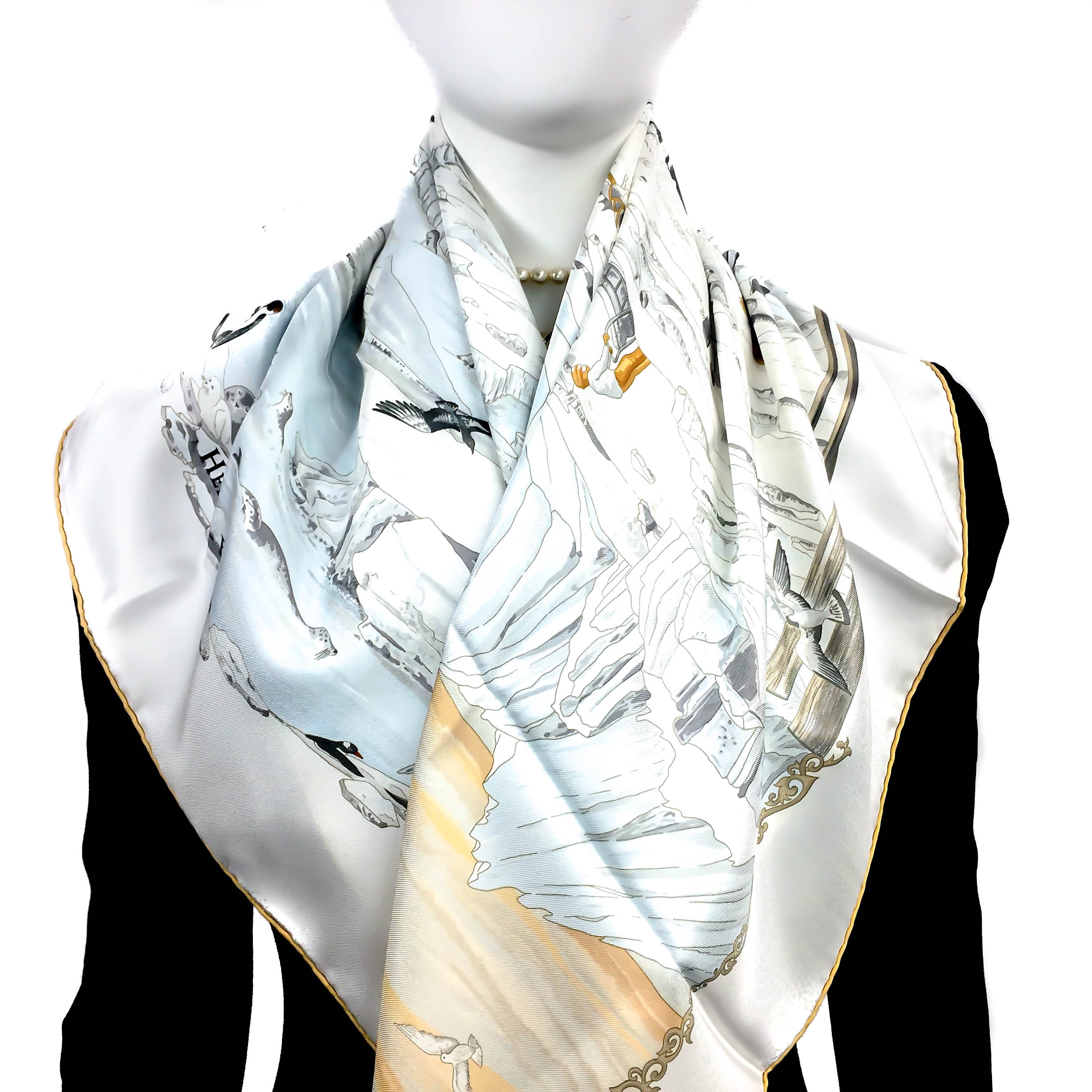 Hommage a l'Explorateur Sir Ernest Shackleton HERMES Grail Silk Scarf_-4
