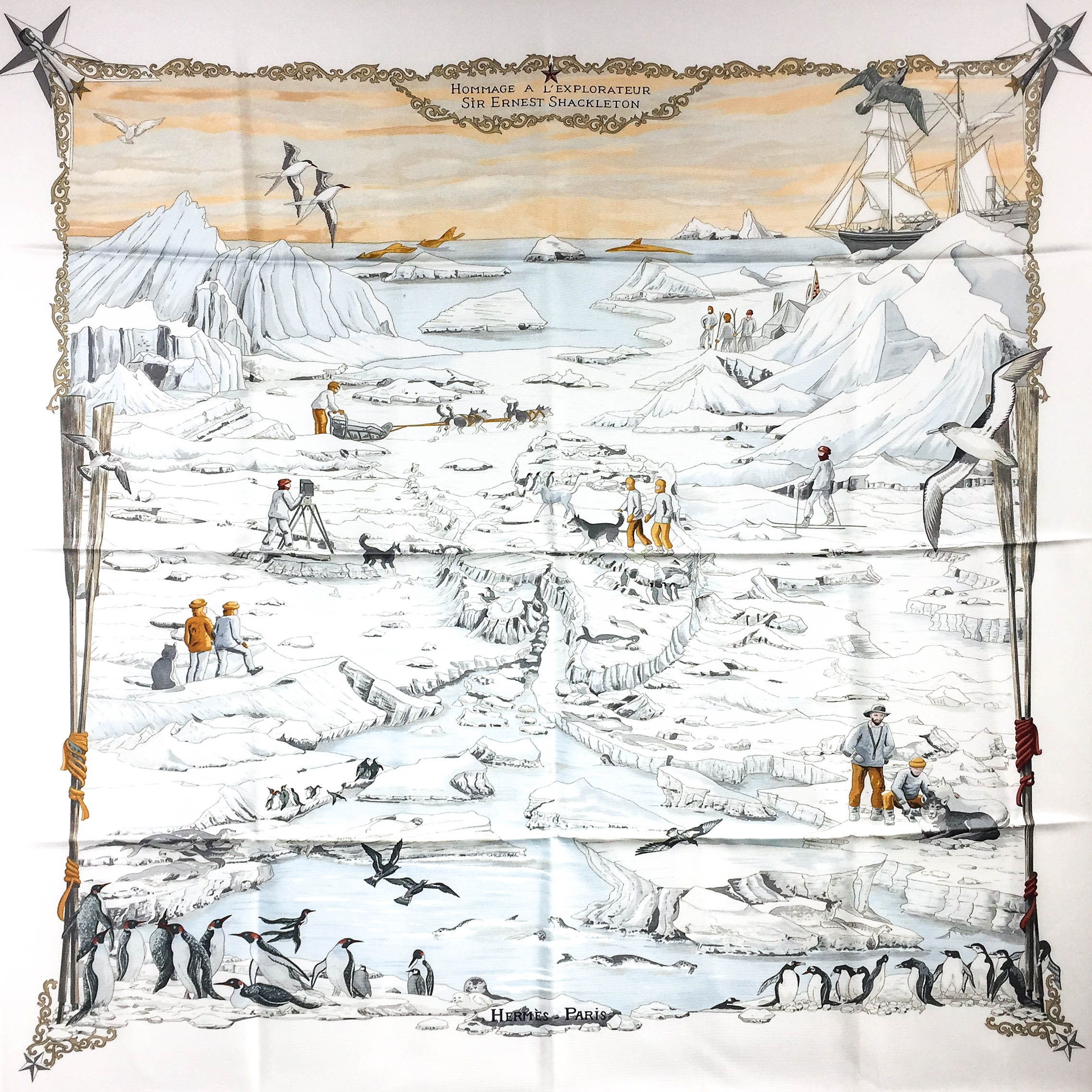 Hommage a l'Explorateur Sir Ernest Shackleton HERMES Grail Silk Scarf_-5