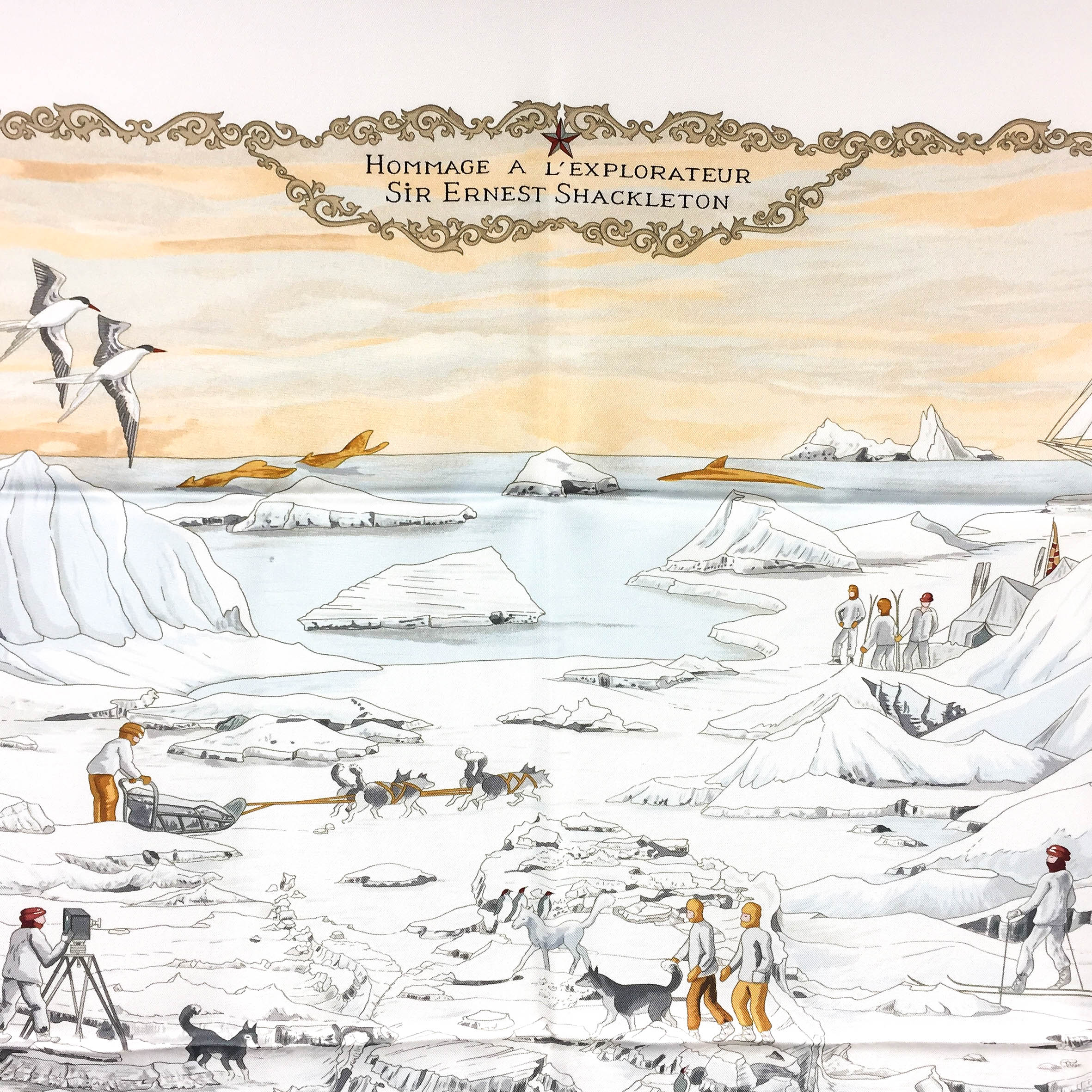 Hommage a l'Explorateur Sir Ernest Shackleton HERMES Grail Silk Scarf_-6