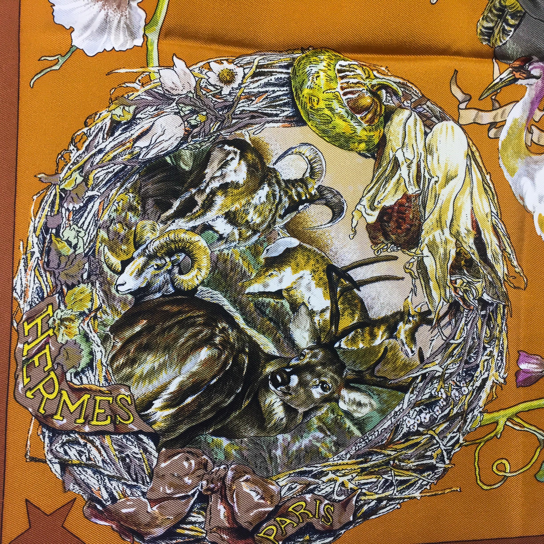 Faune et Flore Du Texas - Texas Wildlife RARE HERMES Silk Scarf (6)