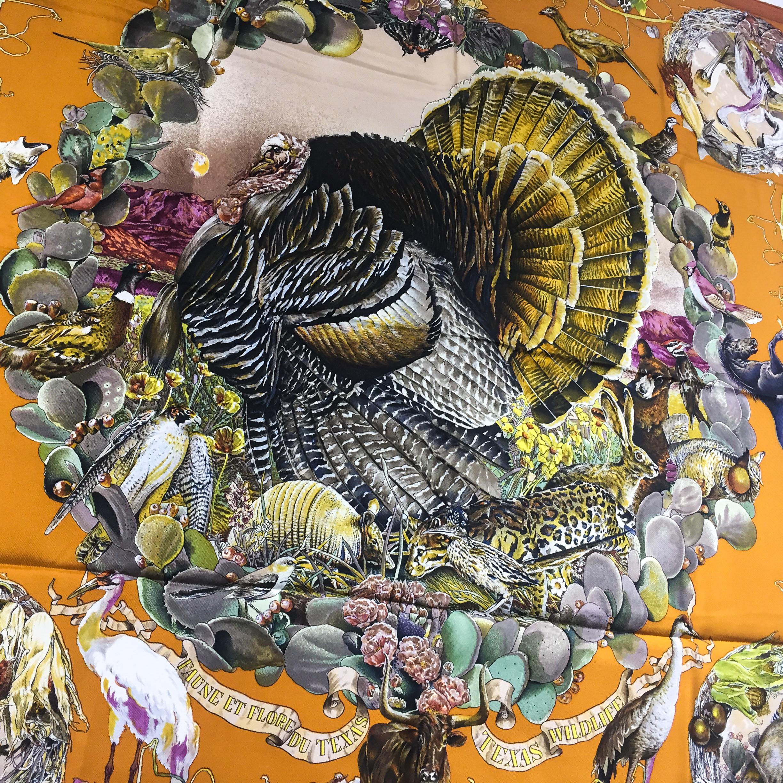 Faune et Flore Du Texas - Texas Wildlife RARE HERMES Silk Scarf (7)