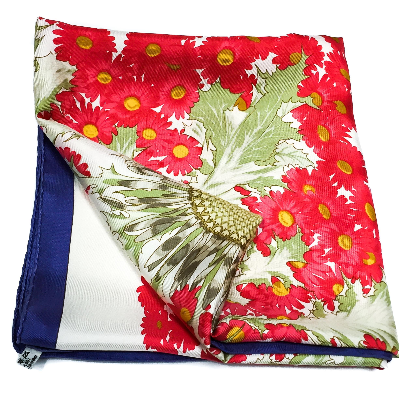 Fleurs et Carlines Vintage Hermes Silk Scarf-11