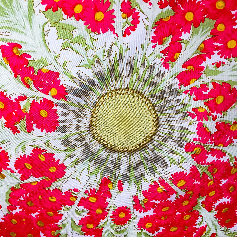 Fleurs et Carlines Vintage Hermes Silk Scarf-2
