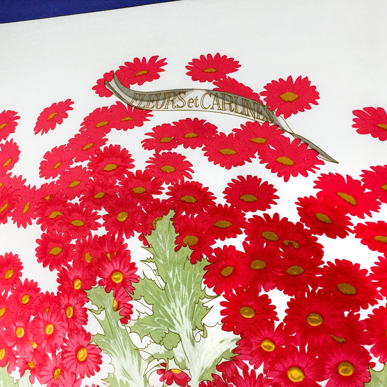 Fleurs et Carlines Vintage Hermes Silk Scarf-3