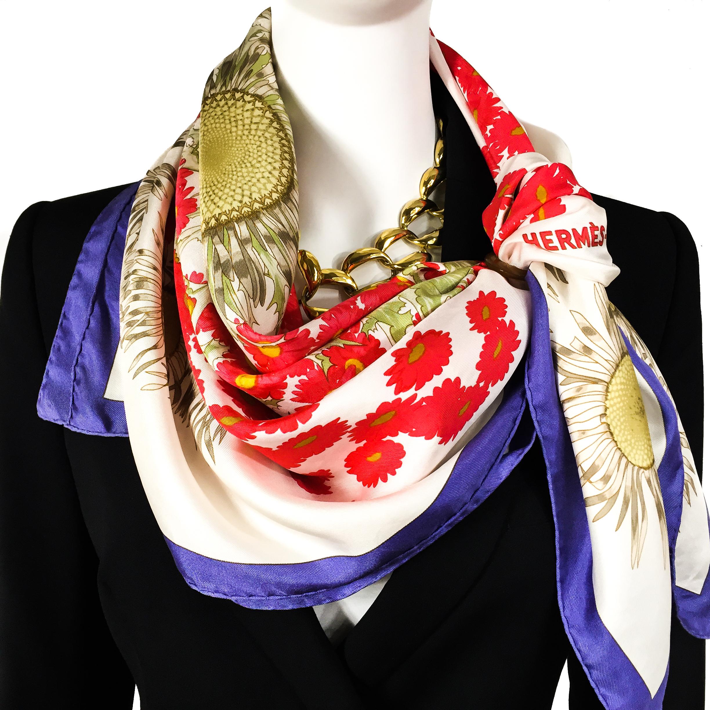 Fleurs et Carlines Vintage Hermes Silk Scarf-8