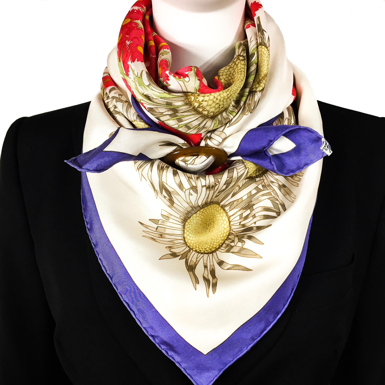 Fleurs et Carlines Vintage Hermes Silk Scarf-9