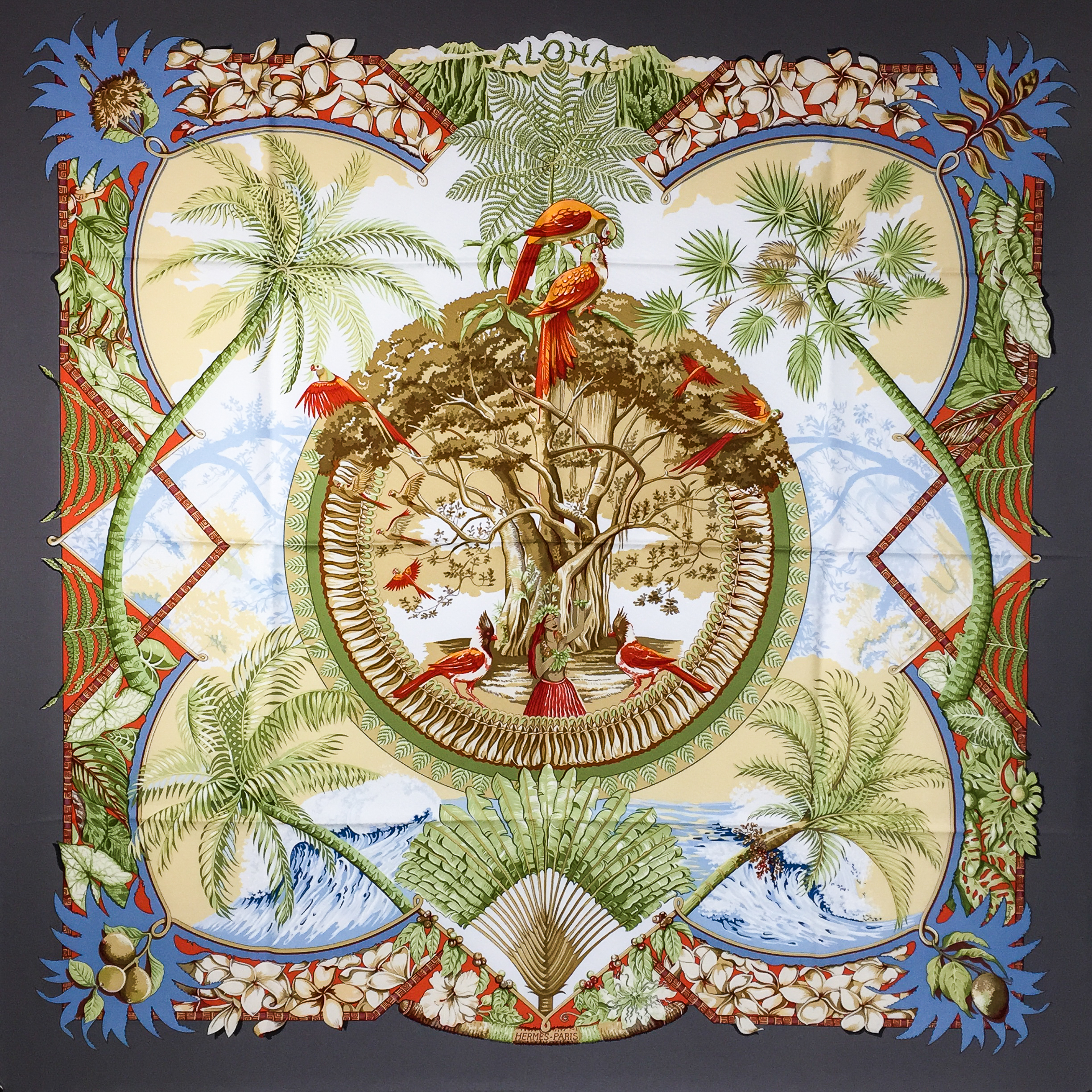 Aloha Hermes silk scarf by Laurence Toutsy Bourthoumieux Thioune was issued in 2002