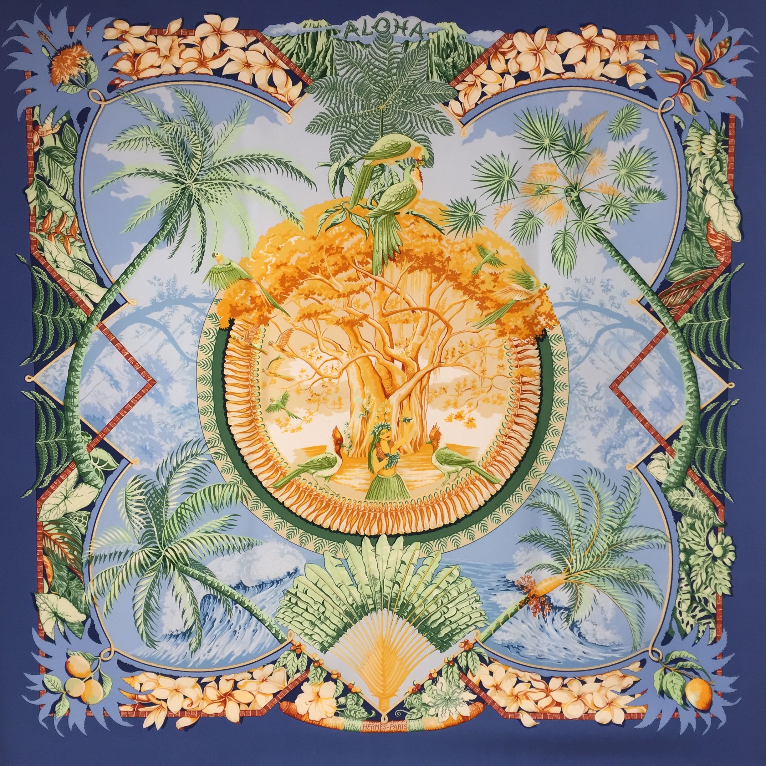 Aloha Hermes silk scarf from 2002 - Blue Colorway COMING SOON