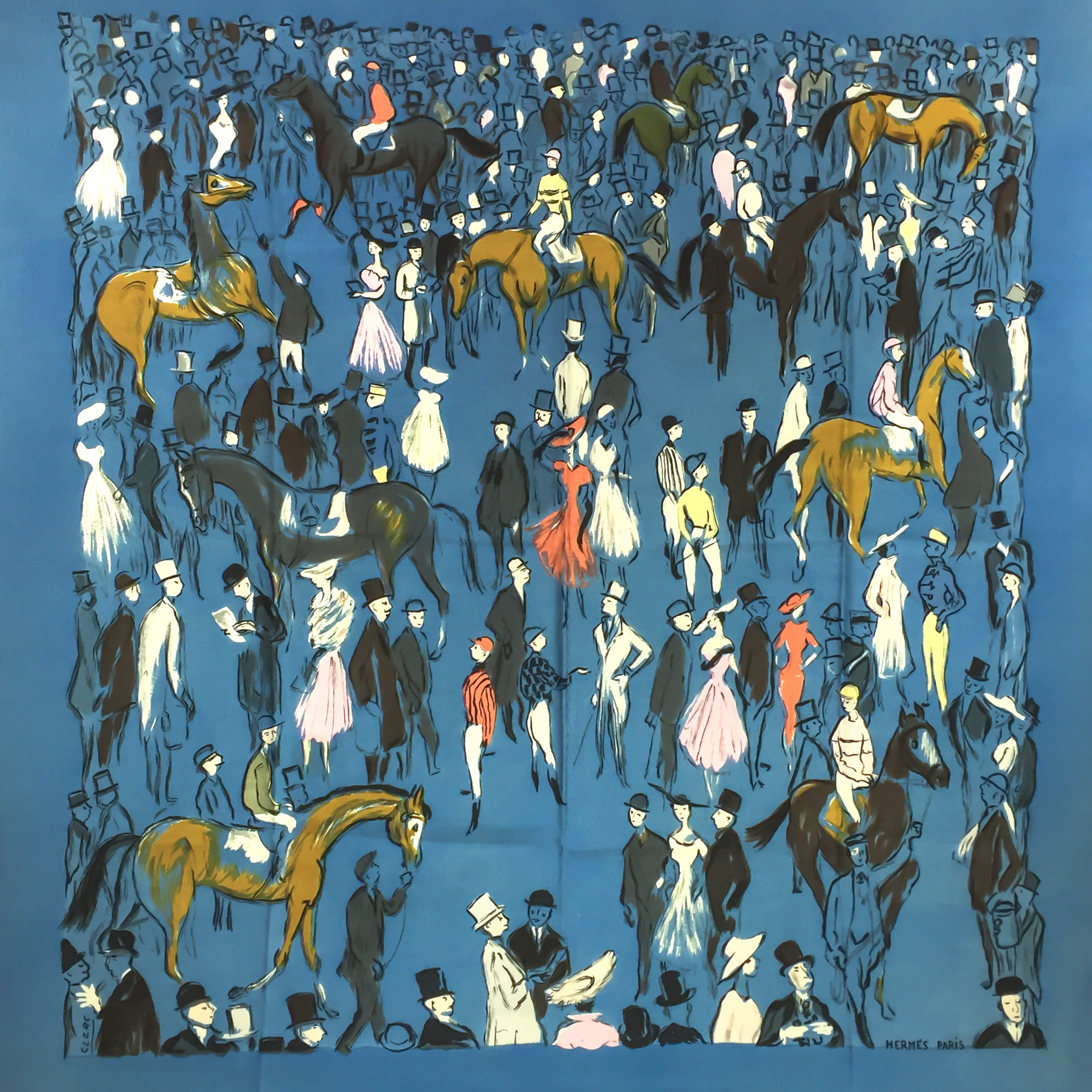 Hermes Vintage Silk Scarf Paddock Champs de Course Very RARE